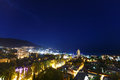 Night city near sea. Russia, Black sea, Yalta Royalty Free Stock Photo