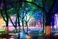Night city park lights Royalty Free Stock Photo