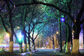 Night city park lights alley background Royalty Free Stock Photo