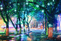 Night city park lights alley background beauty Royalty Free Stock Photo
