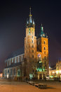 Night city square in krakow poland Stock Images
