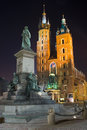 Night city square in krakow poland Stock Photos