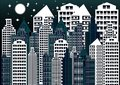 Night city vector illustration. abstract background. Modern night city landscape. Royalty Free Stock Photo