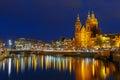 Night city view of Basilica of Saint Nicholas Royalty Free Stock Photo