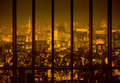 Night city in the yellow tone town Stock Photography