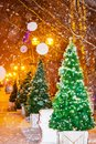 Night  cityscape. Artificial Christmas trees adorn the city streets during a snowfall Royalty Free Stock Photo
