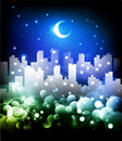 Night cityscape background llustration Stock Photography