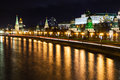 Night cityscape with kremlin in moscow embankment and moskva river Stock Image