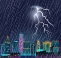Night cityscape with lightning flash and heavy rain.