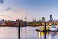 Night Cityscape of London near Millennium Footbridge and Thames river, London, England Royalty Free Stock Photo