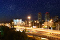 Night cityscape rostov on don russia temernitskii bridge against the city Stock Image