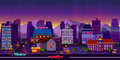 Night cityscape. Vector illustration. Royalty Free Stock Photo