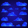 Night clouds with stars, set. Vector isolated
