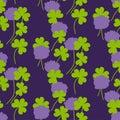 Night clover seamless pattern vector illustration.