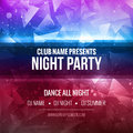 Night Dance Party Poster Background Template. Festival Vector mockup. Royalty Free Stock Photo