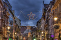 Night Decorated Street in Winter in Colmar Royalty Free Stock Photo