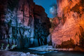 Night desert landscape flowing creek in jordan Royalty Free Stock Photos