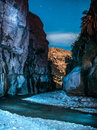 Night desert landscape flowing creek in jordan Royalty Free Stock Photography