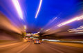 Night driving at highway motion blur light Stock Images