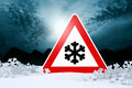 Night driving in winter warning sign risk of snow and ice Royalty Free Stock Image