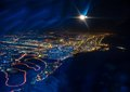 Night dubai beautiful view from the the plane on united arab emirates Royalty Free Stock Images