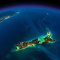 Night earth pacific new zealand highly detailed illuminated by moonlight the glow of cities sheds light on the detailed Stock Images