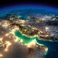 Night earth persian gulf highly detailed illuminated by moonlight the glow of cities sheds light on the detailed exaggerated Royalty Free Stock Photo