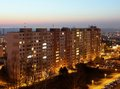 Night estate housing development at sunset block of flats at Royalty Free Stock Image