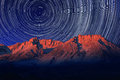 Night exposure star trails of the sky in bishop california vortex Stock Photography