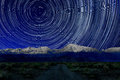 Night Exposure Star Trails of the Sky in Bishop California Royalty Free Stock Photo