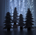 Night fantastic forest of paper Christmas trees Royalty Free Stock Photo
