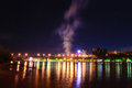 Night fire on the waterfront in voroshilov bridge rostov don Royalty Free Stock Photography