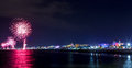 Night fireworks explosion on seafront. Rimini Notte Rosa Royalty Free Stock Photo