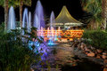 Night fountains in luxury resort shoot of exterior exotic Royalty Free Stock Photo