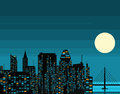 Night futuristic city with big moon Royalty Free Stock Photo