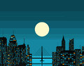 Night futuristic city big moon vector illustration Royalty Free Stock Photo