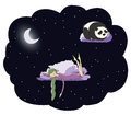 Night girl panda Royalty Free Stock Photo