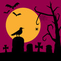 Night graveyard background silhouette with the moon bats flying a raven and a spooky tree useful as happy halloween greeting card Royalty Free Stock Image