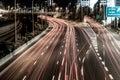 Night highway in the city of Tel Aviv intersection Hahalacha Royalty Free Stock Photo