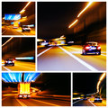 Night highway traffic impression pictures composition of some Royalty Free Stock Image