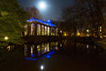 Night hortus building of the botanicus in amsterdam the netherlands at Stock Image