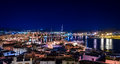 Night ibiza panorama colorful view of old town and harbour Royalty Free Stock Images