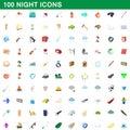 100 night icons set, cartoon style