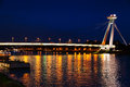 Night illumination of Danube river from SNP Bridge Royalty Free Stock Photo