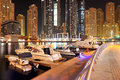 The night illumination of Dubai Marina Royalty Free Stock Photography