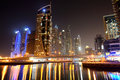 The night illumination at dubai marina uae Royalty Free Stock Images