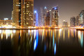 The night illumination of dubai marina uae september on september in uae it is an artificial canal city built along a Royalty Free Stock Photos