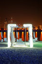 Night illumination of the luxury hotel on Palm Jumeirah Stock Image