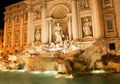 Night image of Trevi fountain in Rome Royalty Free Stock Photos