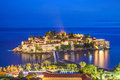 Night islet and hotel Sveti Stefan, Montenegro, Adriatic sea, Eu Royalty Free Stock Photo